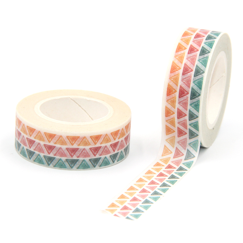 New Arrival 1PC 15MM*10M Colorful Triangles Washi Tape Wide Sticky Adhesive Tape Scrapbooking Album DIY Decorative Paper Tape