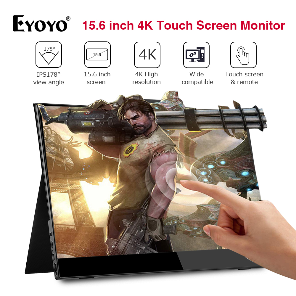 Eyoyo 15.6'' Portable 4K IPS Touch Screen 1080p Gaming Monitor LCD HDMI USB Type C Display For PC Laptop Phone PS4 Switch XBOX