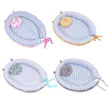 Портативная детская кроватка с подушкой для новорожденных, безопасная Складная дышащая противоскользящая колыбель с рисунком, переносная кроватка, спальная кровать