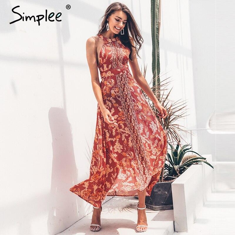 Simplee Sexy espalda descubierta halter mujeres Vestido largo de verano estampado Floral boho lace up vestidos femeninos vacaciones playa vintage vestidos