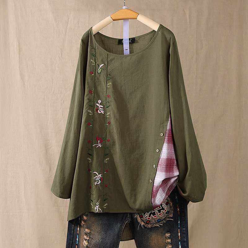 Plus Size Women Cotton Linen Blouse ZANZEA Vintage Long Sleeve Pacthwork Shirt Spring Embroidery Blusas Casual Tunic Tops Mujer