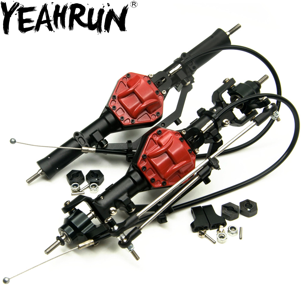 YEAHRUN Aluminum Front & Rear Axles With 4WD Lock For AXIAL SCX10 1/10 Scale RC Crawler