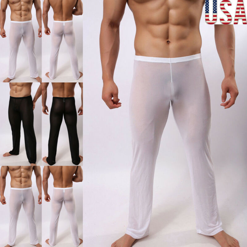 Brand New Men's Sexy Lingerie Solid  Long Johns Pants Thermal Mesh Sheer See-through Underwear US Plus Size