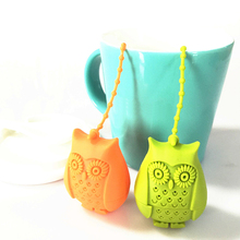 купить Creative Cute Owl Tea Strainer Tea Bags  Food Grade Silicone loose-leaf Tea Infuser Filter Diffuser Fun Cartoon Tea Accessories дешево