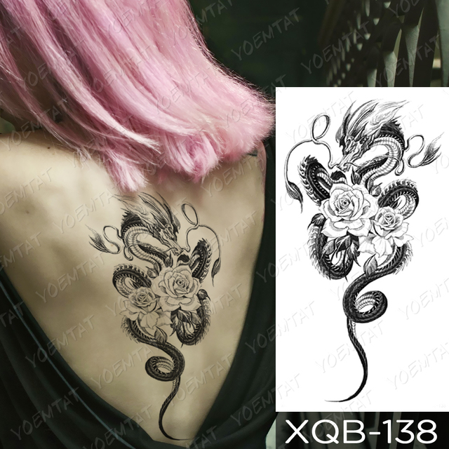 Waterproof Temporary Tattoo Sticker Dragon Lotus Plum Rose Tattoos Sword Snake Body Art Arm Fake Sleeve Tatoo Women Men
