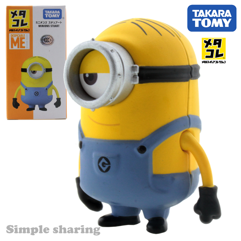 Takara Tomy Tomica Minions Stuart Alloy Model Kit Despicable Me Anime Figure Baby Toys Diecast Hot Bauble Miniature Kids Doll