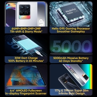 "realme 8 RMX3085 6.4""FHD+ AMOLED 4GB 64GB 64MP AI Quad Camera Helio G95 Octa Core 5000mAh 30W Dart Charge NFC Mobile Phone 2"