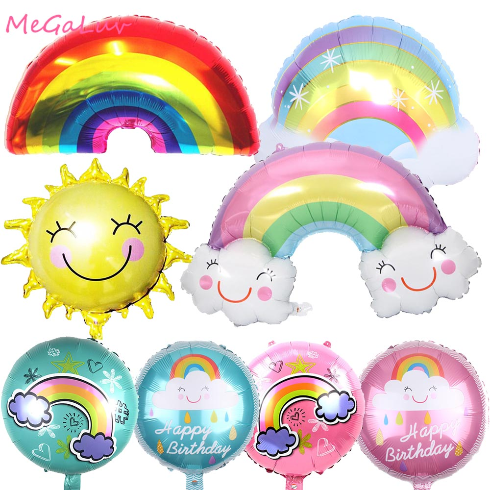 Rainbow Cloud Sun Foil Ballons Pastel Party Candy Balloons <font><b>Birthday</b></font> Unicorn Party Baby Shower Party Supplies Wedding Decoration image