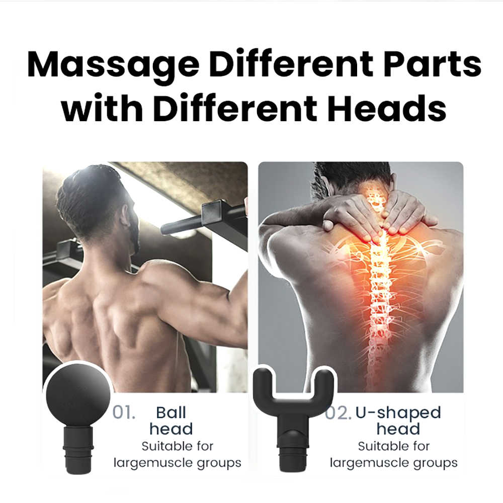 JUFIT Hoge Kwaliteit Elektronische Massage Gun Deep Tissue Massage Oefenen Spier Ontspanning Product Relief Pijn Met 4 Koppen