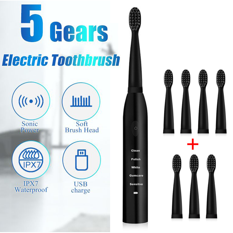 Electric Toothbrush Powerful Ultrasonic Sonic USB Charge Rechargeable Tooth Washable Electronic Whitening Teeth Brush DropShip