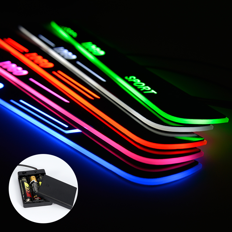 LED Door Sill For <font><b>Ford</b></font> <font><b>Everest</b></font> 2015 - 2018 Streamed Light Scuff Plate Acrylic <font><b>Battery</b></font> <font><b>Car</b></font> Door Sills Accessories image