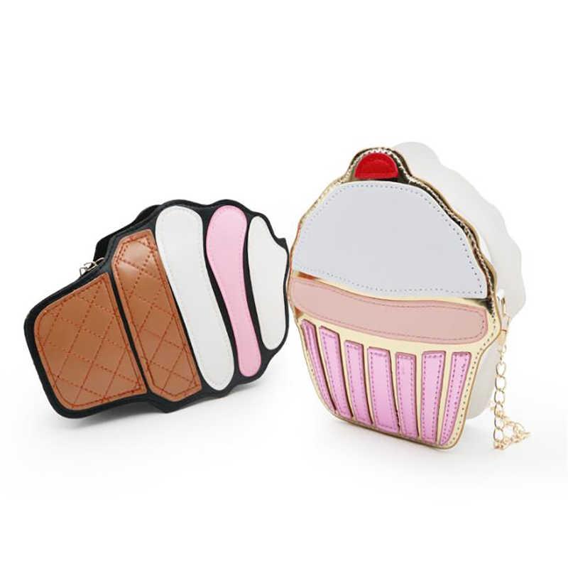 2019 nette Eis Cupcake Frauen Tasche PU Leder Kleine Kette Kupplung Mädchen Messenger Crossbody Schulter Taschen Weibliche Geldbörse Handtaschen