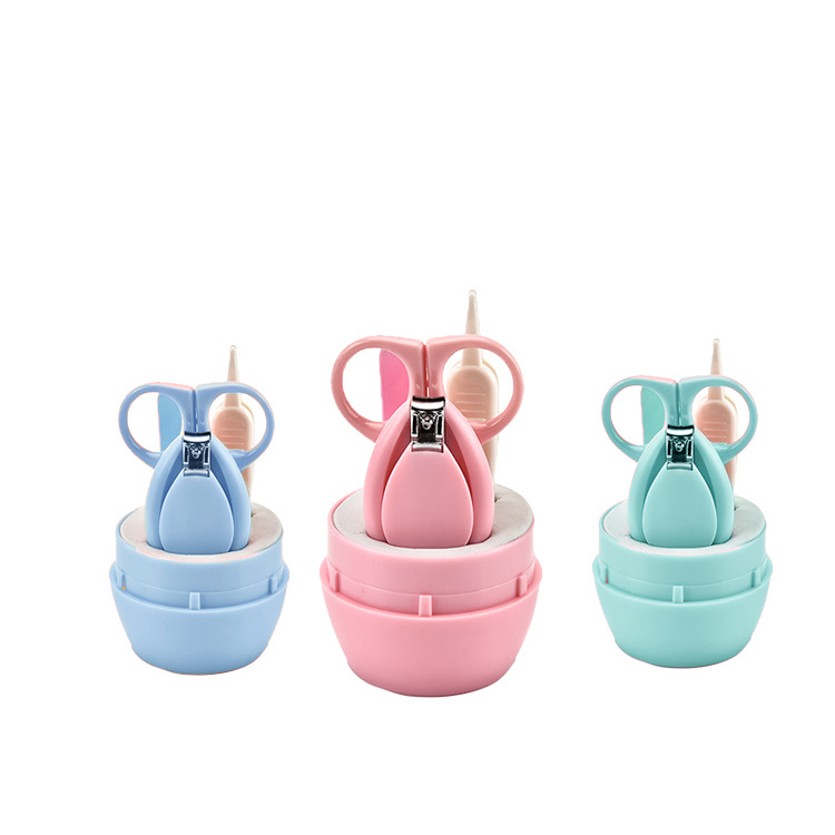 Newborn Kids Nail Scissors 4pcs/Set Baby Safe Health Care Kit Hardware Manicure Hair Thermometer Nail Clippers Care Tools