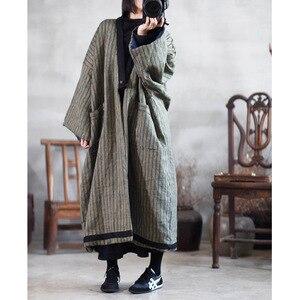 Image 4 - Kadın kış çizgili Parkas % 2019 pamuk keten kalın sıcak büyük boyutlu cepler uzun ceket kadın Vintage gevşek Parkas YoYiKamomo