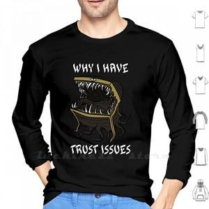 Why I Have Trust Issues, с длинным рукавом, для мужчин, подростков, хлопок, Mimic Monster, игровые видеоигры, нагрудное кольцо с сокровищами, потрясающее неми...