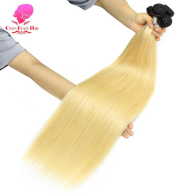 QUEEN BEAUTY-mechones de pelo humano liso Remy brasileño, 3/4 Rubio degradado, tejido de 2 tonos, raíces oscuras, Color Platino, 1/613 Uds.