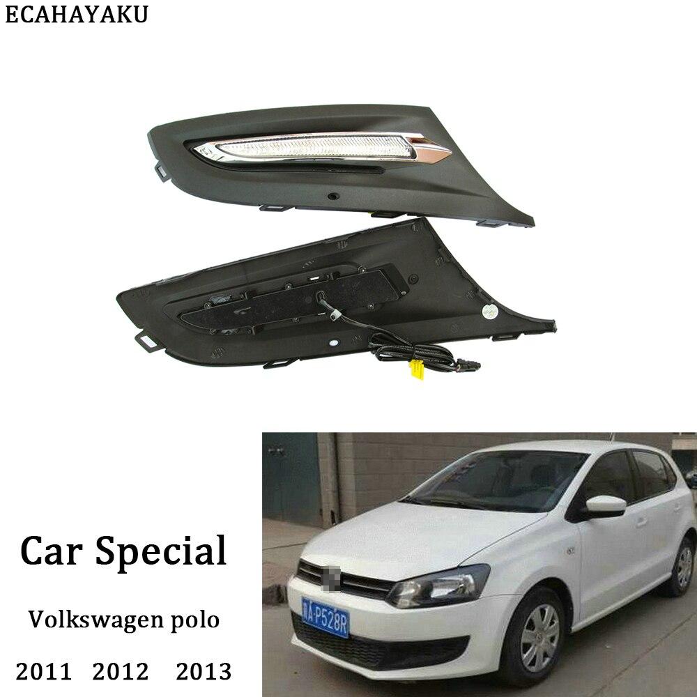 ECAHAYAKU 1 пара 12В Автомобильные противотуманные дневные ходовые огни Светодиодные крышки для Volkswagen Polo 2011 2012 2013 Автомобильные светодиодные лам...