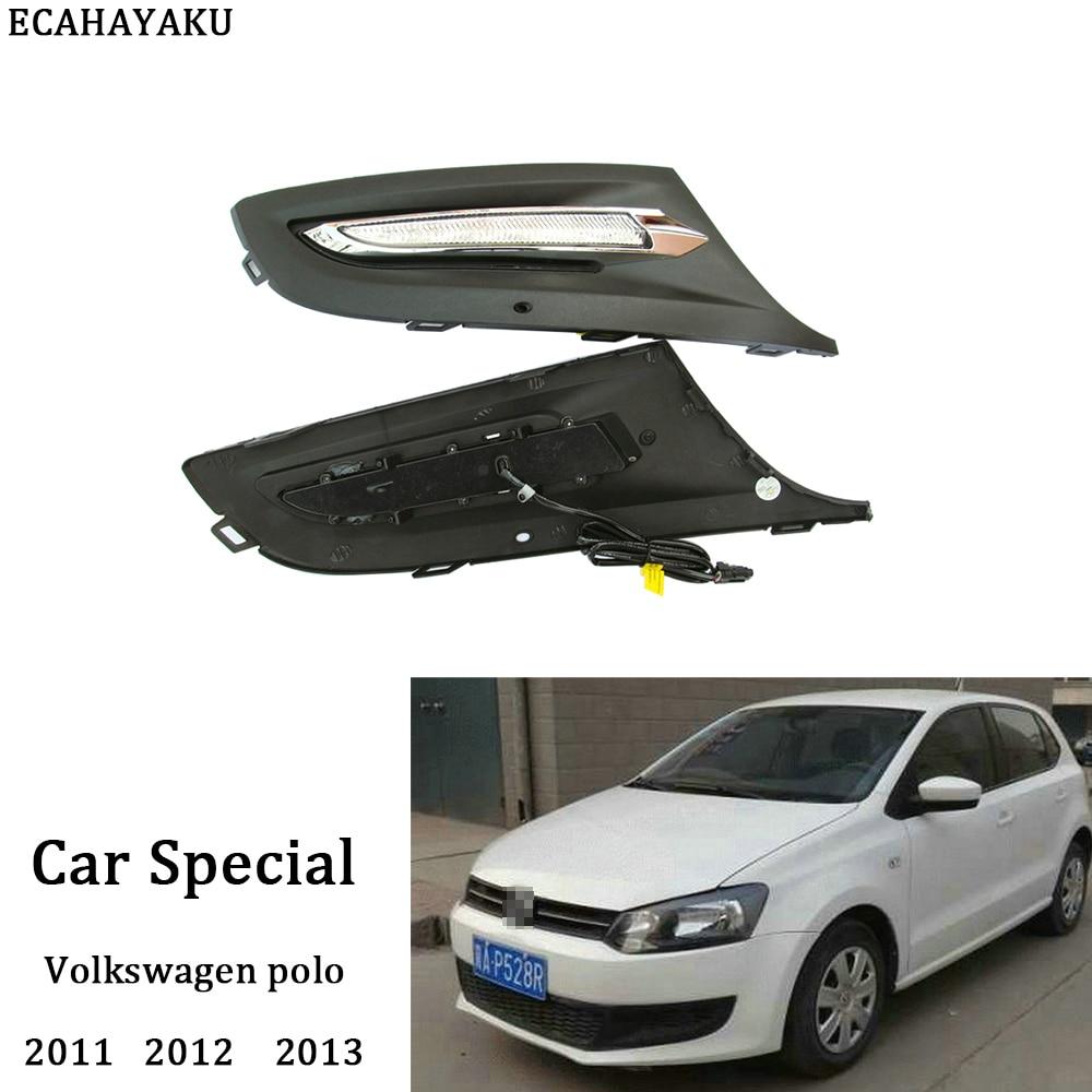 ECAHAYAKU 1Pair 12V Car Fog Daytime Running Light LED Cover Driving Lamp For Volkswagen Polo 2011 2012 2013 Car LED Lamp