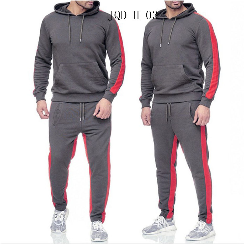 JQD-H-03 Brand Clothing Men's Fashion Patchwork Tracksuit Casual Sportsuit Men Hoodies Sweatshirts Sportswear Coat+Pant Men Set