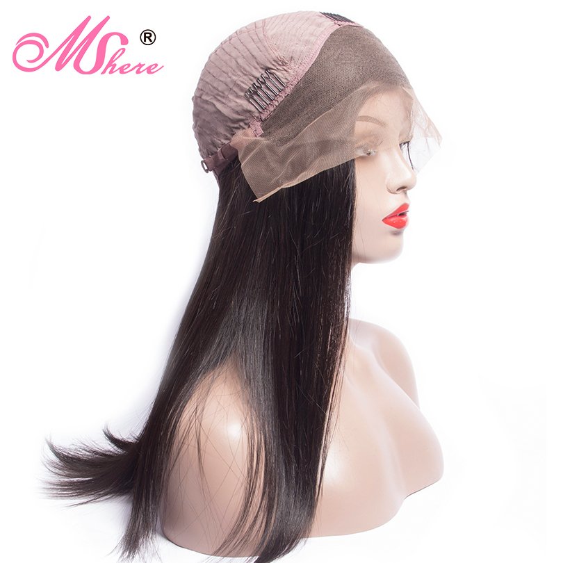 13x4 Mshere Long Straight Lace Front Human Hair Wigs Brazilian Hair Wigs Lace Front Wig with Baby Hair Pre Plucked 150% Remy