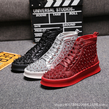 Men PU Leather Sequins Casual Boots Shoes Male Streetwear Fashion Hip Hop Faux Leather Boots Shoes Stage Clothing