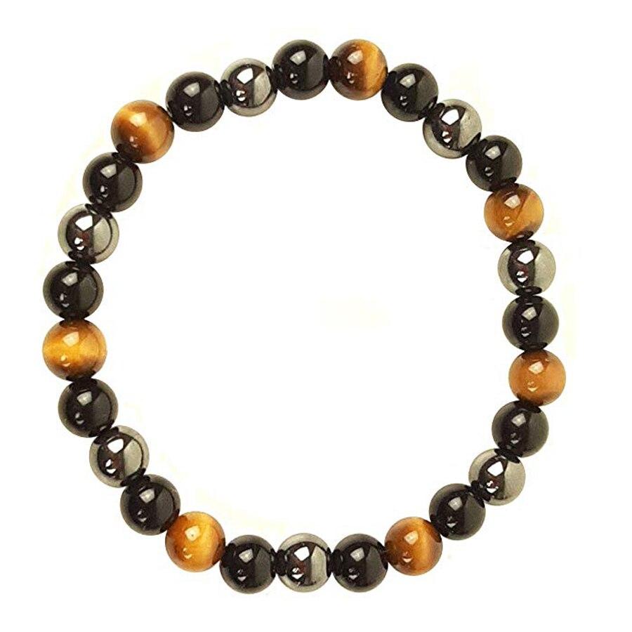 Pulseira de olho de hematita tigre obsidiana, pulseira de pedra natural para proteção de saúde, presente para dia dos namorados