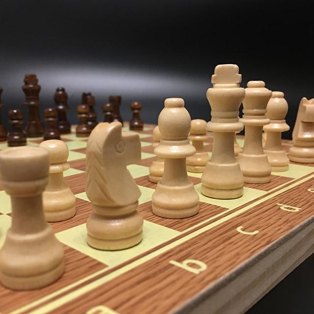 Jeu d'échecs en bois Backgammon dames 3 en 1 jeu d'échecs de voyage pièces d'échecs en bois et planche pour enfants adulte 2
