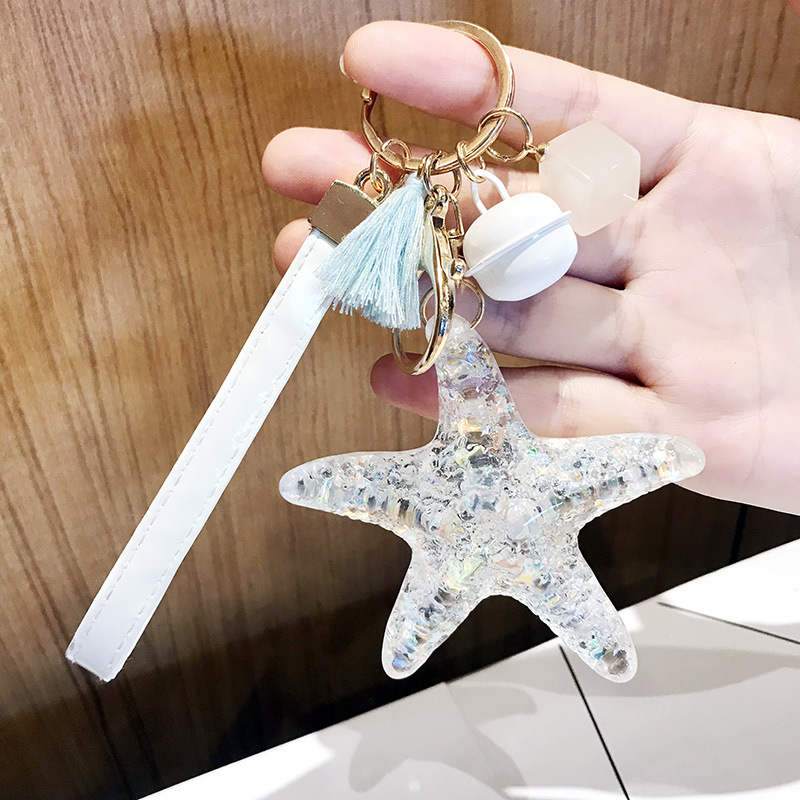 New Cartoon Sea World Starfish Pearl Shell Keychains KeyRing Crystal Seashells Pendant Key Chains Women Bag Charm Gifts in Key Chains from Jewelry Accessories