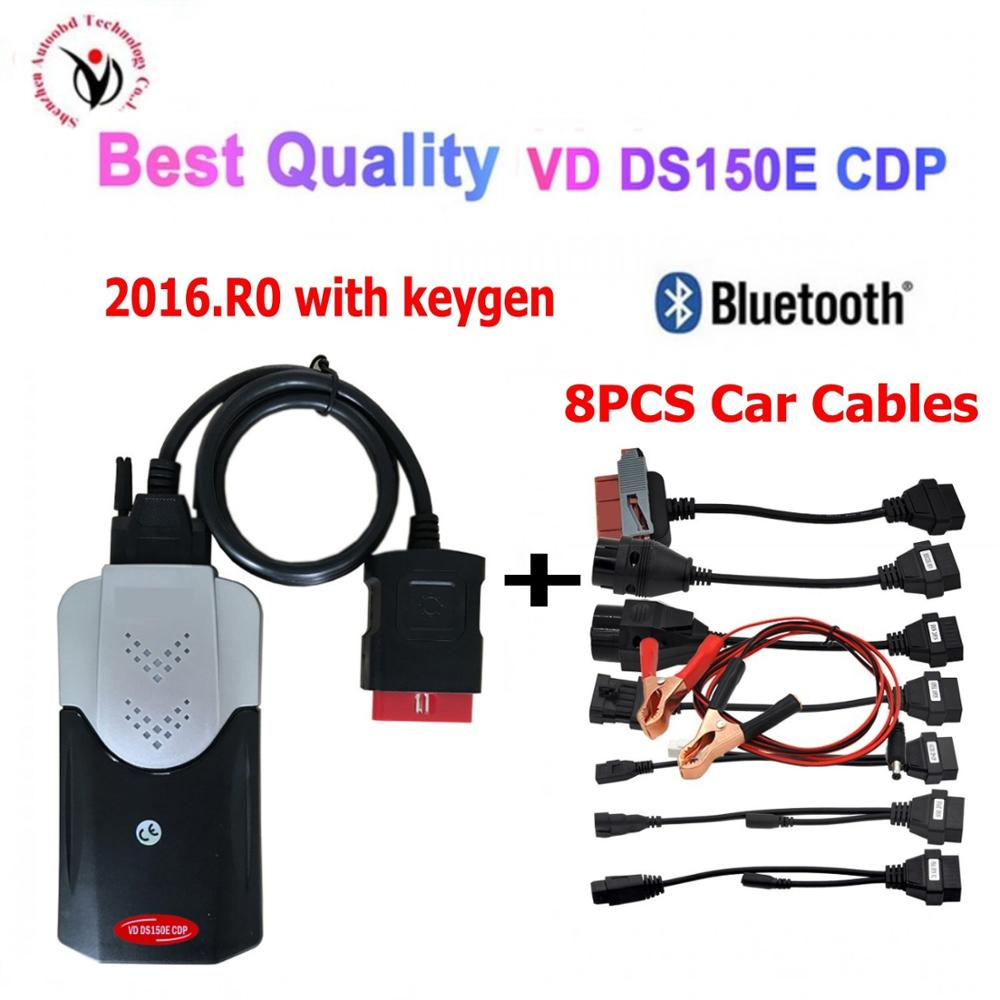 2020 New Vci Vd Ds150e Cdp 2016R0 Keygen VD TCS CDP Pro With Bluetooth Diagnostic Tool For Delphis Cars/Trucks OBD2 Scanner