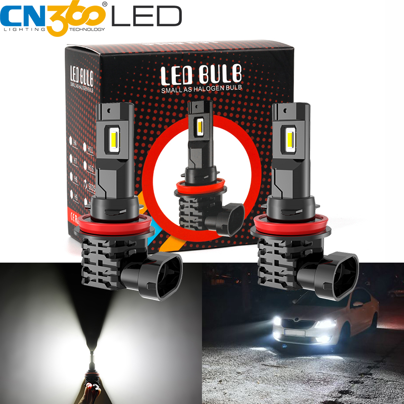 2X AUXITO H8 H11 H9 Fog Light Super Bright 6000K 2400lm White CSP SMD LED bulb A