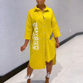 Women Summer Letters Print Shirt Dress 2020 Streetwear Office Asymmetrical Knee-length Casual Loose Midi Party