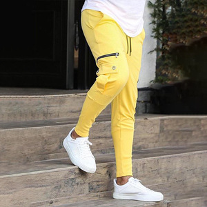 New Men Fashionable Overalls Trousers Casual Pockets Mens Fitness Exercise Hallen Pants Pure Cotton Joggers pants