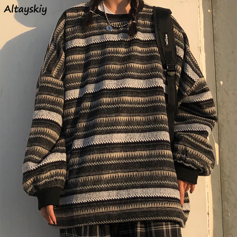 Pullovers Women Oversize Ulzzang BF Unisex Couples Japanese Striped Knit Sweater Hip Hop Female New Winter Fashion Retro Daily 1