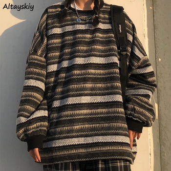 Pullovers Women Oversize Ulzzang BF Uni Couples Japanese Striped Knit Sweater Hip Hop Female New Winter Fashion Retro Daily