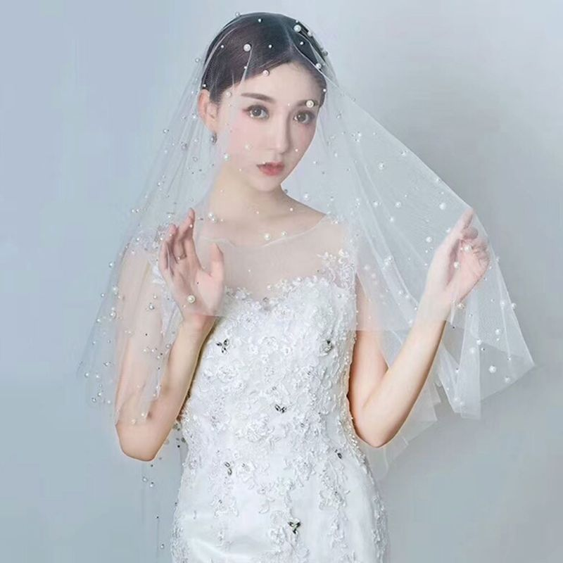 Free Shipping 1.5 M Wedding Dress Accessories Bride Veil White Full Handmade Artificial Pearl Women Veils Single Layer