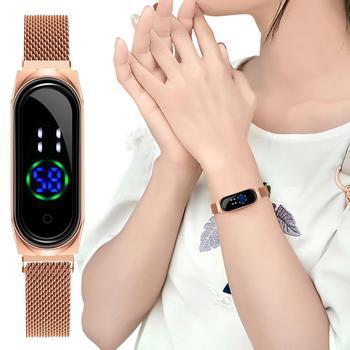 цена Women Touch Screen LED Watch Ladies Magnetic Mash Sport Wacth Electronic Clock Digital Wrist Watches Relogio Feminino Clock онлайн в 2017 году