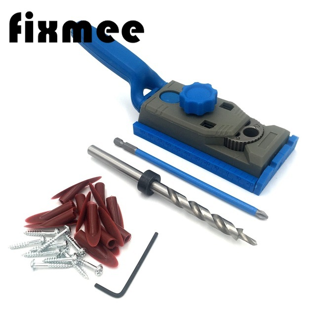 2 In 1 Genius Woodworking Pocket Hole Jig Kit Set 9.5mm Drill For  Pilot W/ Scale Straight Hole Positioner Punching Tool