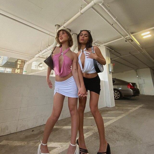 Shestyle-Conjuntos de dos piezas para mujer, ropa de playa Sexy, Rosa dulce, Espalda descubierta, Halter camisola, minifaldas, ropa de club, ropa de playa de retales 2021 3