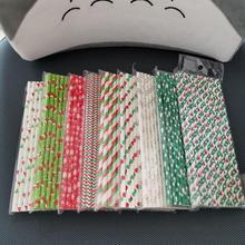 25 шт./лот, одноразовые бумажные соломинки для питья, товары для рождественской вечеринки, детский винный бар на день рождения, украшение дома, бумажные соломинки
