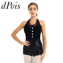 Femmes adultes danse gymnastique justaucorps sans manches velours gilet haut paillettes bas Jazz body spectacle de scène Performance Dancewear(China)