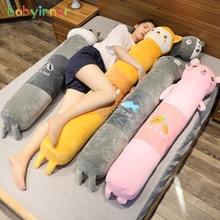 Babyinner dos desenhos animados enchidos animais pelúcia longo travesseiro boneca 90/140/170cm bonito confortável dormir travesseiro almofada é os melhores presentes