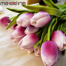 Fake Flowers Tulips Photography Decor Wedding-Decoration Home PU for 10pcs