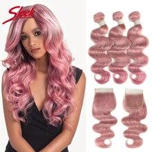 Eleganckie wiązki włosów z zamknięciem brazylijski ciało fala Ombre różowy zielony ludzki włos wyplata Virgin Remy do przedłużania włosów darmowa wysyłka
