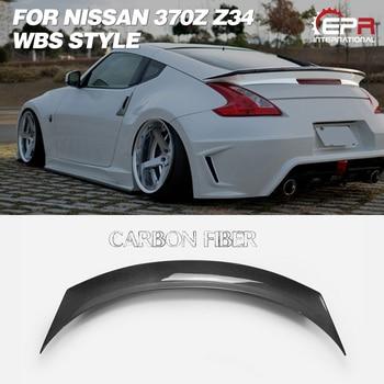 Car Accessories WBS Style Carbon Fiber Rear Spoiler Glossy Finish Trunk Wing Lip Fibre Splitter Kit For Nissan 2009 On 370Z Z34