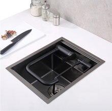 Nanômetro preto pia da cozinha acima do contador ou udermount vegetais pia da bacia de lavagem da cozinha aço inoxidável sem emenda