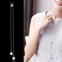 Pearl sweater chain long womens simple pendant necklace  jewerly silver 925 Rolo Chain Anniversary Trendy white gold
