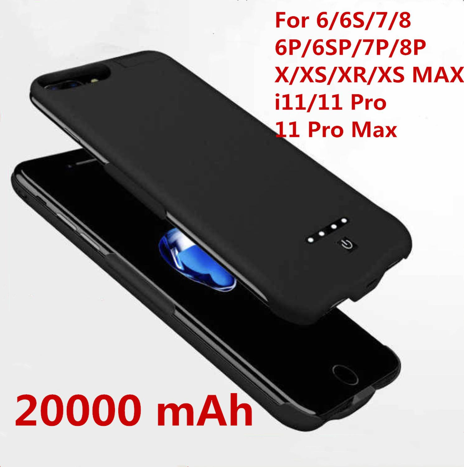 Hot 20000mah Power Bank Case For IPhone 6 6s 7 Plus Case Battery Charger Case For IPhone X XS XR 11 Pro Power Bank Charging Case