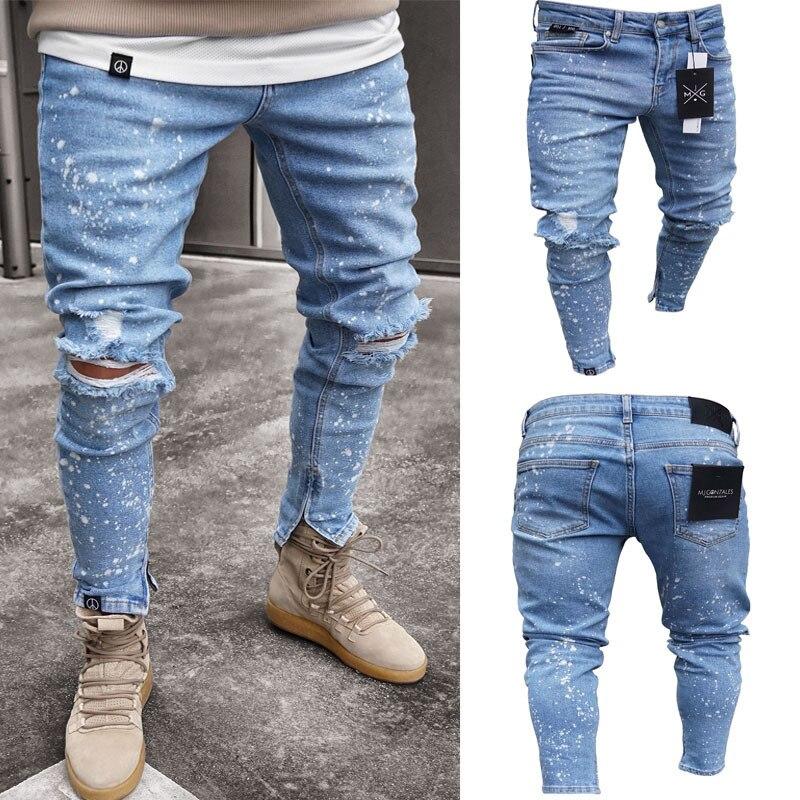 Fashion Streetwear Men S Jeans Painted Ankle Zipper Skinny Destroyed Ripped Jeans Broken Punk Pants Homme Hip Hop Jeans Men
