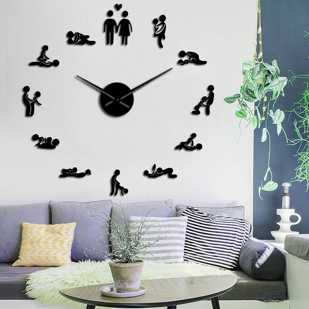 Sex Love Position Mute Wall Clock Bachelorette Game Sexy Kama Sutra 3D DIY Clock Watch Adult Room Decor Acrylic Big Time Clock image