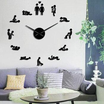 Sexo amor posición Mute pared reloj despedida de soltera juego Sexy Kama Sutra 3D DIY reloj adulto habitación decoración acrílico gran tiempo reloj